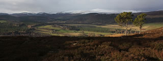 View of Cairngorms Mountains over Deeside
