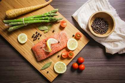 salmon on chopping board