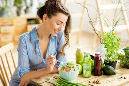 woman eating healthy snack
