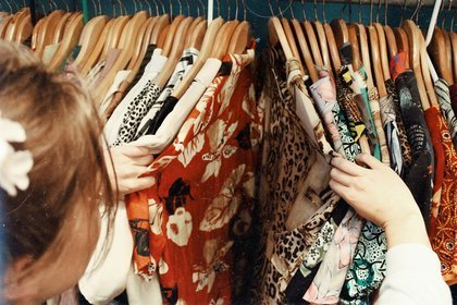 Vintage clothing on a rail
